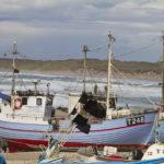 I Vorupør er der ikke nogen havn. Derfor trækker man bådene op på stranden